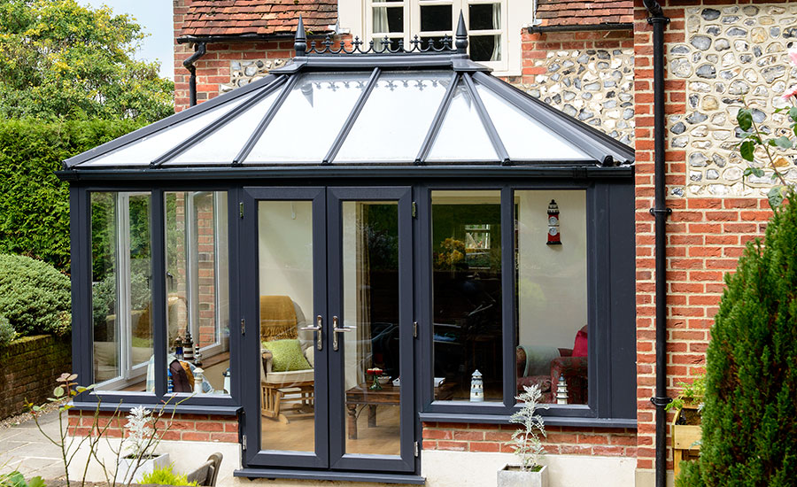 classic conservatory in black coloured frame
